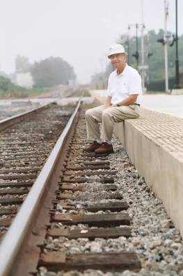 Dad on tracks